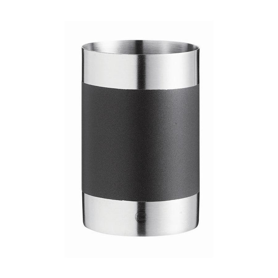 Tall Black vase avec écrasé plateau en verre 43 cm Tall