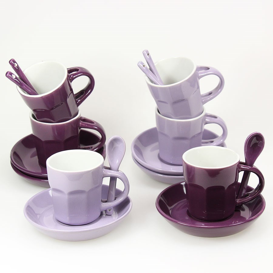 coffret de 6 tasses caf avec cuill re int gr e violet. Black Bedroom Furniture Sets. Home Design Ideas