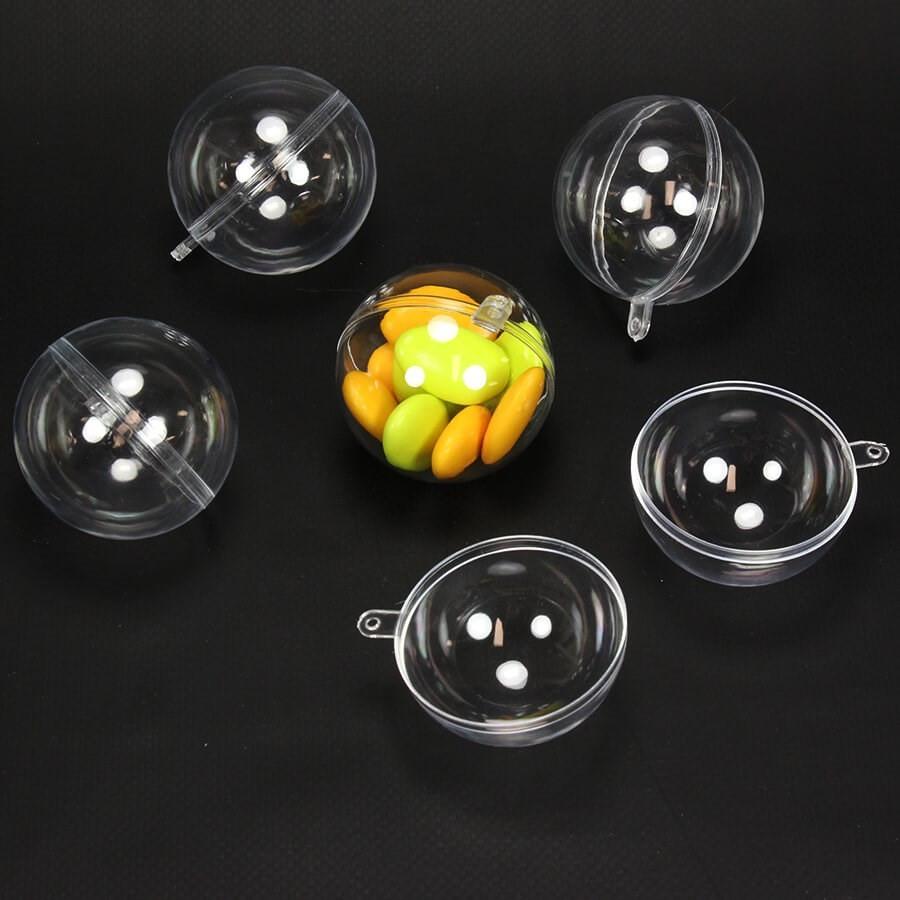 Idee Deco Boule Plastique Transparente Noel 5 boules transparentes 5 cm pour dragées et déco de noël