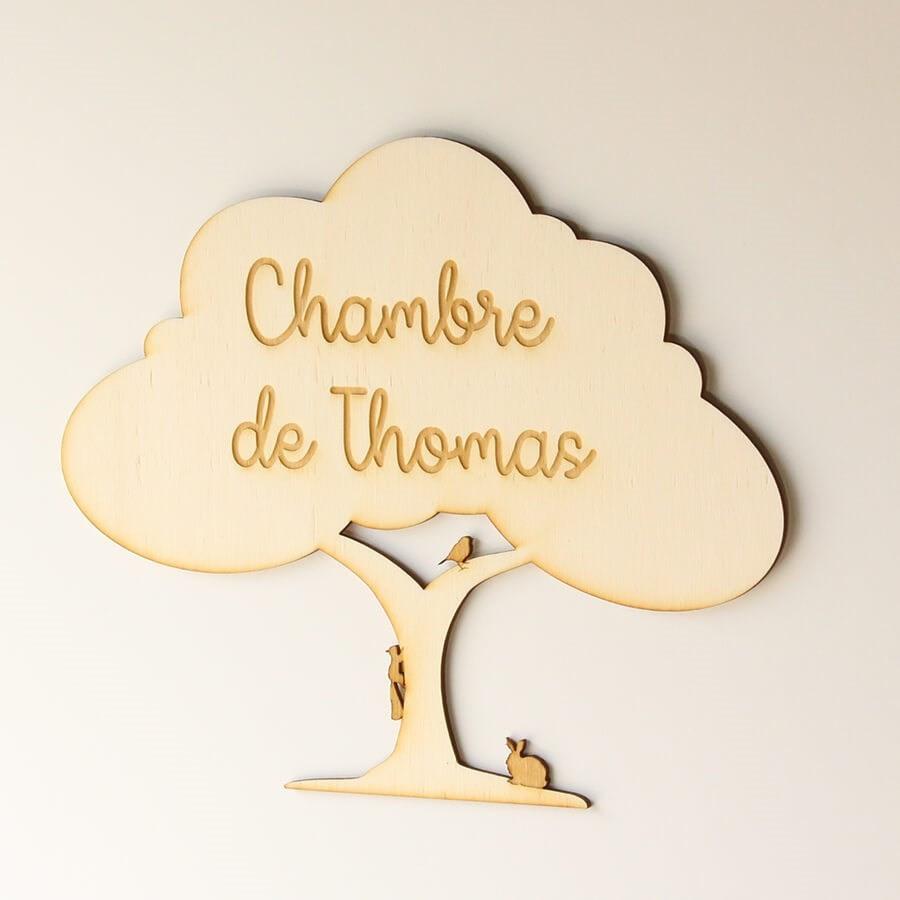 plaque de porte en bois personnalis e arbre de la for t. Black Bedroom Furniture Sets. Home Design Ideas
