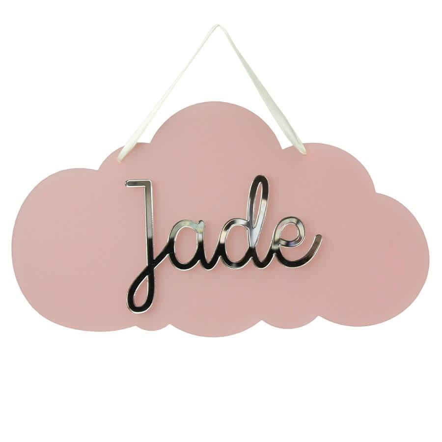 plaque de porte chambre personnalis e avec pr nom nuage rose. Black Bedroom Furniture Sets. Home Design Ideas