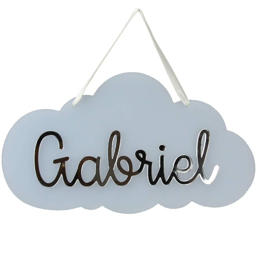 Plaque de porte chambre avec pr nom personnalis nuage bleu - Plaque de porte prenom ...