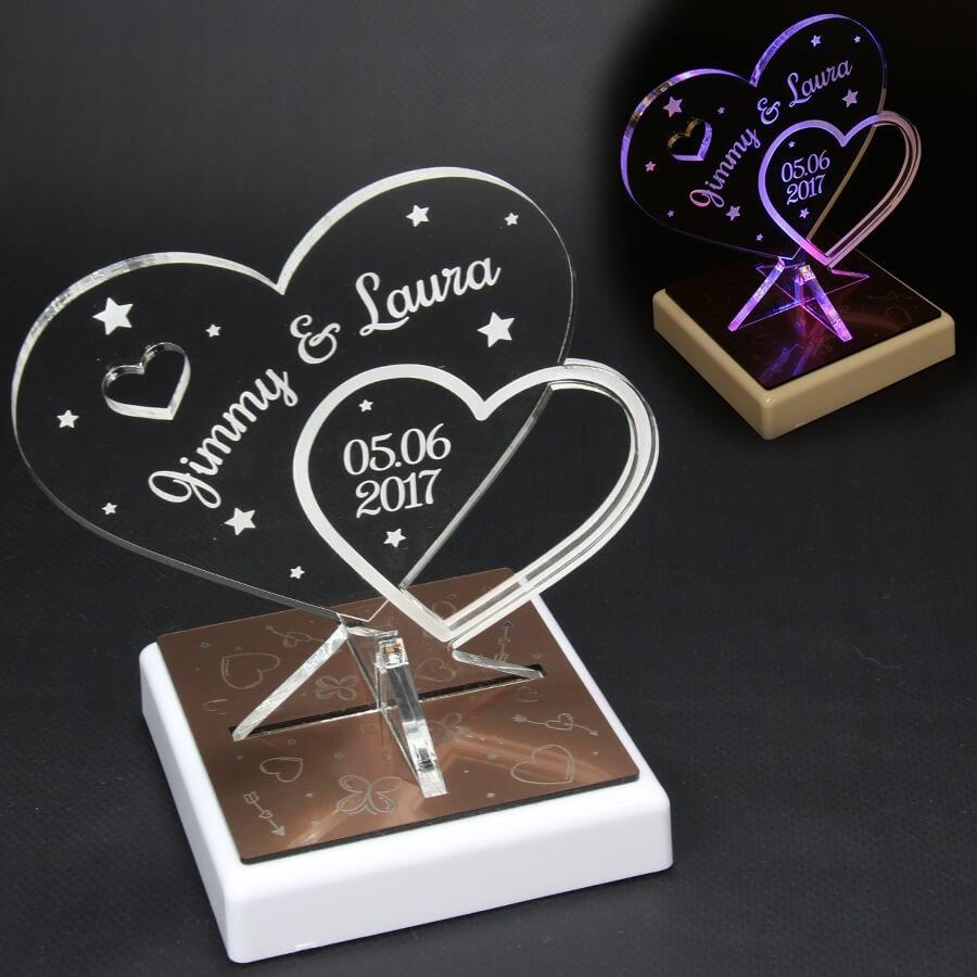 Trophée Coeur Personnalisé Sur Socle Led Cadeau Mariage St Valentin