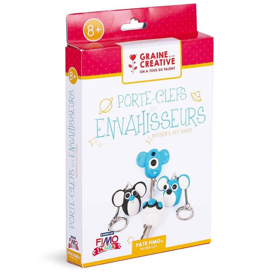 Kit diy fimo graine cr ative fabriquer des porte clefs envahisseurs - Fabriquer un porte clef ...
