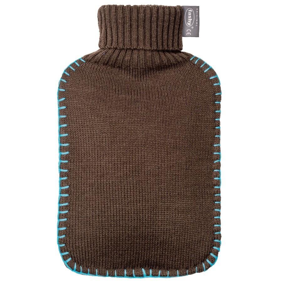 Bouillotte eau avec housse tricot marron fashy for Housse bouillotte tricot