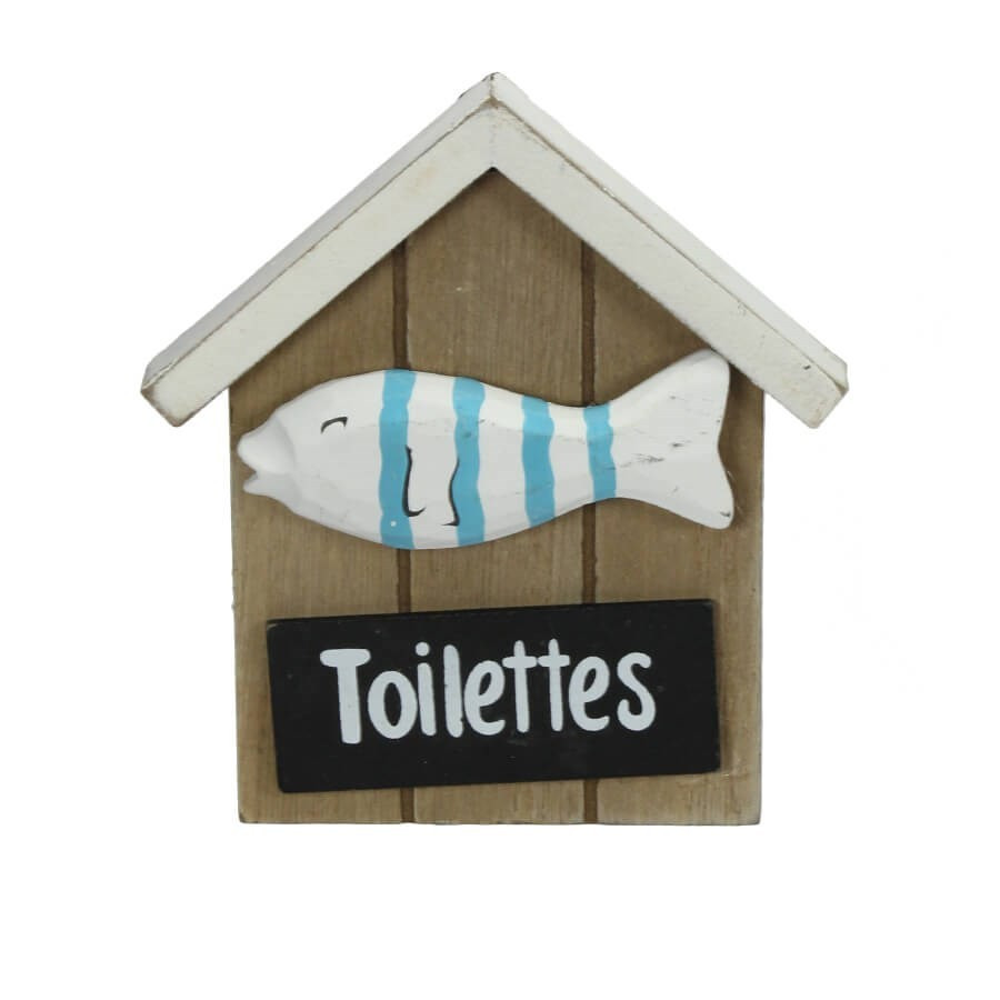 plaque de porte pour toilette poisson bleu. Black Bedroom Furniture Sets. Home Design Ideas
