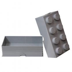Boite de rangement Lego grand modèle 8 plots - gris