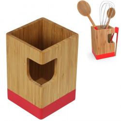 Pot A Ustensiles De Cuisine En Bambou Pebbly Deco Rouge