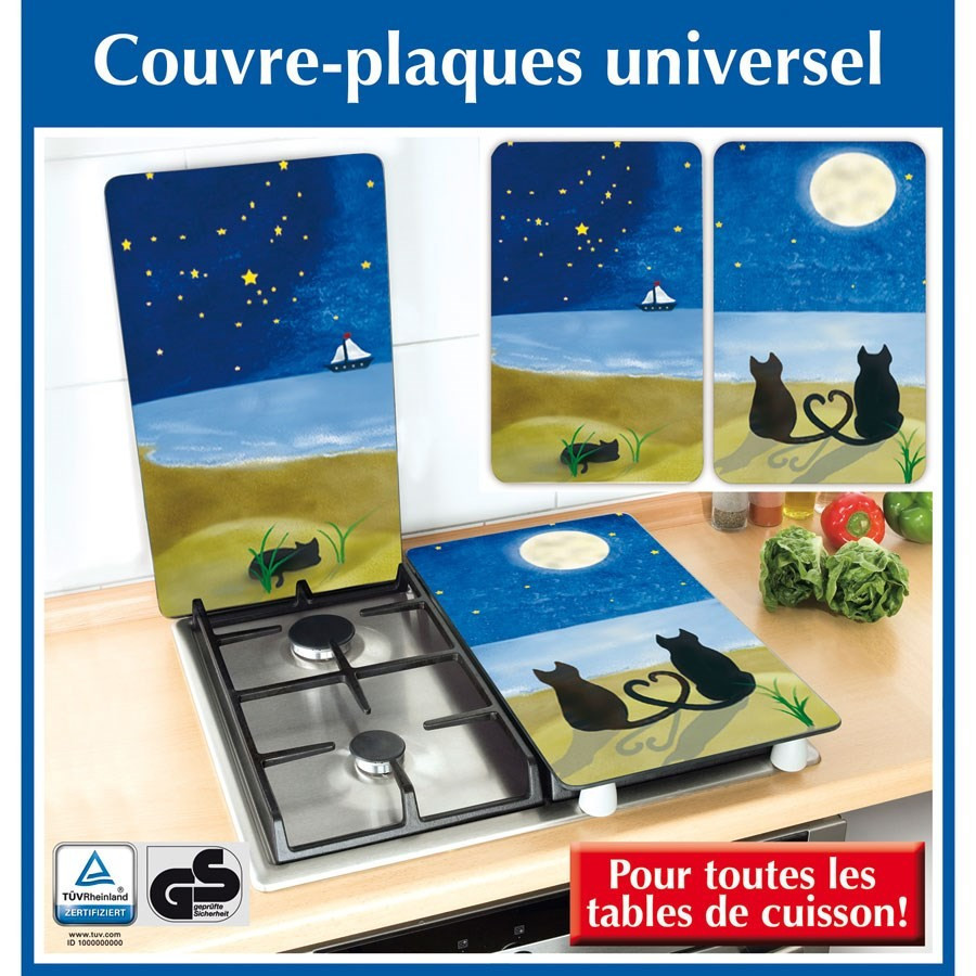 2 couvre plaques de cuisson universels chats sous la. Black Bedroom Furniture Sets. Home Design Ideas