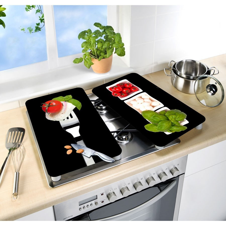 Plat En Verre Sur Plaque Induction 2 couvre plaques de cuisson universels - tomate mozza basilic wenko
