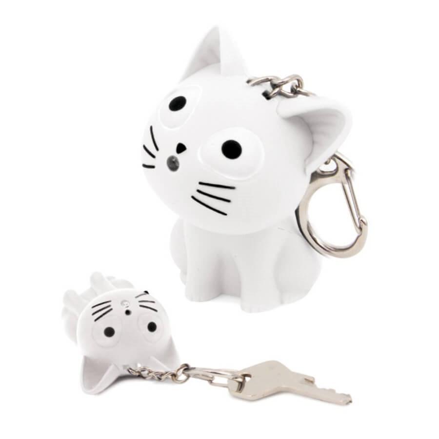 well known best cheap crazy price Porte clef rigolo chat son et lumière - blanc