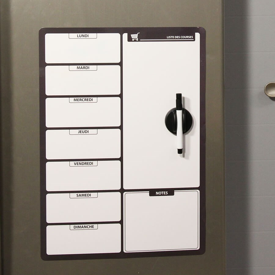 Ardoise tableau magnétique effaçable Liste de courses noir
