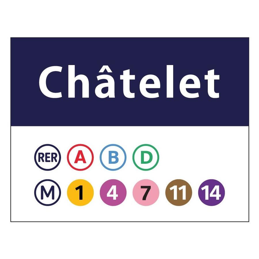 Plaque Metro Parisien Deco panneau déco métro châtelet et stations carré