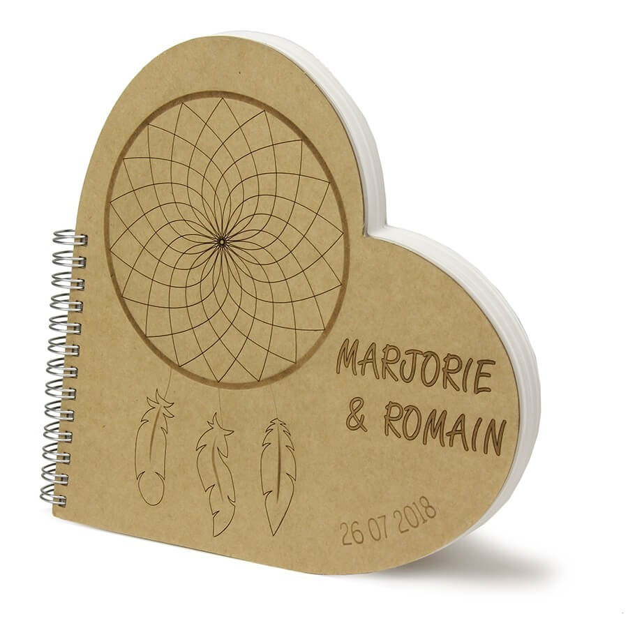 Livre D Or Coeur Personnalise Mariage Boheme Attrape Reve
