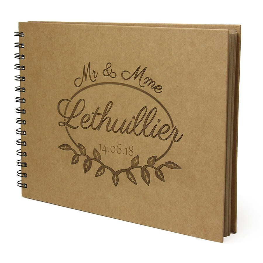 Livre D Or Mariage Personnalisable Grand Cahier Kraft Champetre Mr Mme