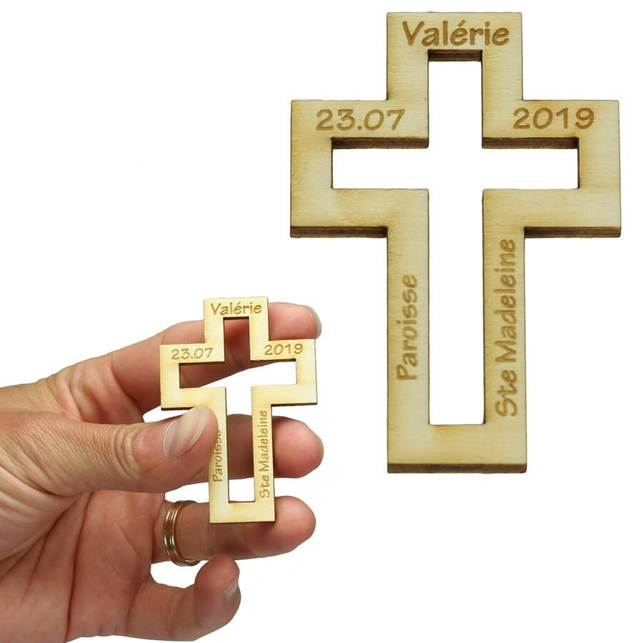 Cadeau Souvenir Bapteme Personnalise En Bois Croix Catholique