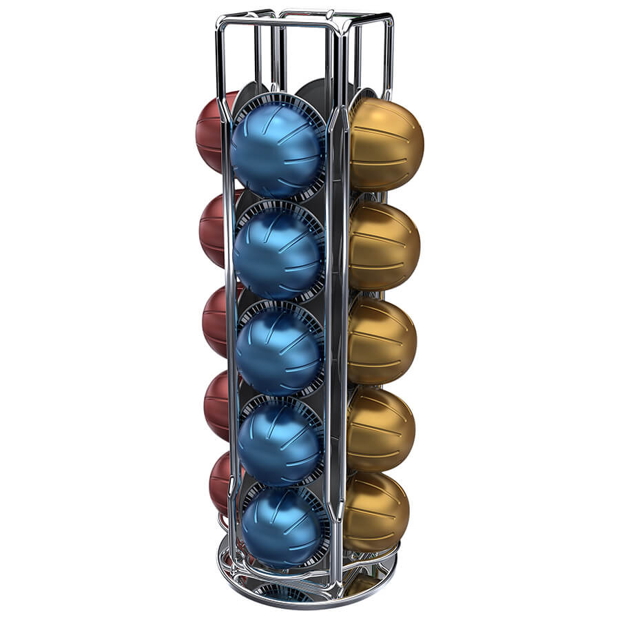 Porte Capsules pour Ranger Les Dosettes Nespresso Distributeur de Capsules Rotatif de 40 Capsules